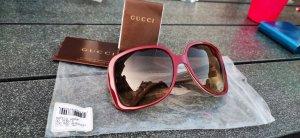 Gucci Angular Shaped Sunglasses carmine-brown red
