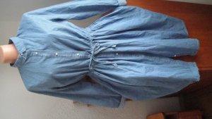 Denim Couture by Smith Denim House Robe chemise bleu azur-bleu pâle coton