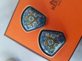 Hermès Orecchino a clip oro-blu neon
