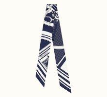 Hermès Neckerchief white-dark blue silk