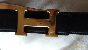 Hermès Ceinture réversible noir-marron clair cuir