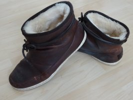 Hub Fur Boots brown-cream leather