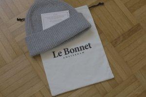 Original Le Bonnet Mütze Beanie Strickmütze Grau Wolle NEU