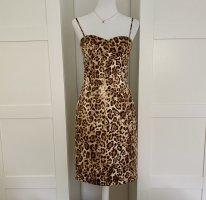 Original Michael Kors Collection Leopardenkleid Kleid Partykleid Leopardenmuster Leo Spaghettiträger Gr 6 Designerkleid