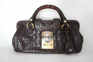Original Miu miu Handtasche aus geprägtem Leder in braun