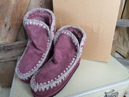 Mou Snow Boots dusky pink leather