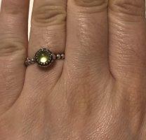 Original Pandora Silberring mit hellgrünem Steinchen