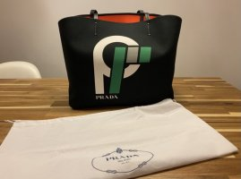 Original Prada Canvas Totebag, Shoppingbag, Schuktertasche schwarz