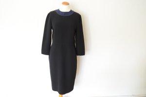 Original PRADA Etuikleid schwarz mit blauem Kragen D 38 It 44 Kleid aktuell