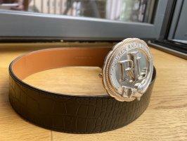 Ralph Lauren Cintura di pelle argento-nero Pelle