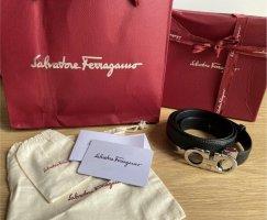 Salvatore ferragamo Leather Belt black-silver-colored