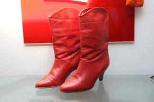 Original Vintage damen Stiefelette Ankle Boots Western Cowboy Leder Gr. 4 (37) ROT