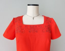 Original Vintage Maxikleid, rotes Abendkleid Diolen Loft, Gr. M, 40(D)
