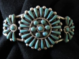 Armlet silver-colored-turquoise real silver