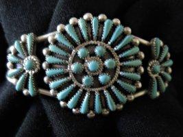 Mouwband zilver-turkoois Zilver