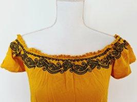 Orsay basic lässiges Kleid Sommerkleid gelb dunkelblau 36 S 38 M