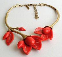 Oscar de la Renta Halskette Magnolie Blumen rot gold