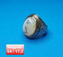 Ottoman Ring mit echtem Yemeni Achat (ganz neu)