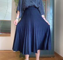 Oui Pleated Skirt dark blue-blue viscose