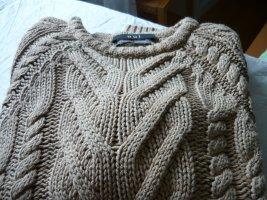 Oui Warkoczowy sweter beżowy Bawełna