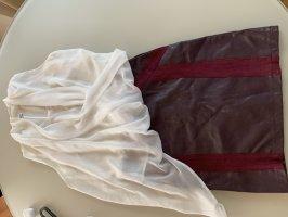 Lenny B. Paris Spódnica z imitacji skóry bordo-biały