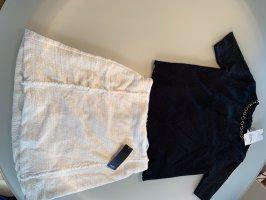 Zara Falda de lino negro-blanco