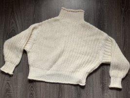 Oversize wollpullover Strickpullover weiß