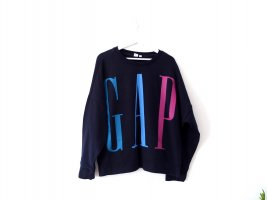 Oversized GAP Pullover Gr. XL 42 44 dunkelblau retro look 90's Sweater Sweatshirt