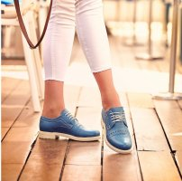 Oxfords korenblauw Leer