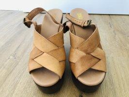Oxmox Sandalias de tacón con plataforma marrón oscuro-camel
