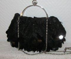 Pailettentasche schwarz für Abendgarderobe Tasche Bügeltasche Beuteltasche Bag Pailetten Handtasche Kettengurt Kette silberfarben