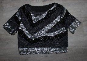 H&M Camicia cropped nero-argento