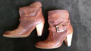 Pakros echt Leder Schuhe Stiefeletten braun rot Holzabsatz 37/37,5