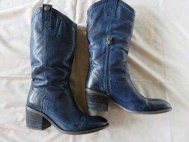 Pakros Boots western bleu cuir
