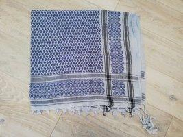Palästinensertuch groß in blau-weiß mit langen Fransen