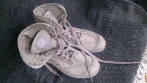 Palladium Bottes à lacets gris brun coton
