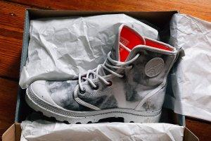 Palladium Botas de tobillo gris claro-rojo claro
