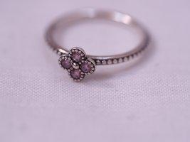 Pandora Ring, Original, mit Blütenmotiv, Blume, rosa/ lila Zirkonia Steinchen, wie neu, Ringstacking, Größe 50