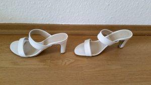 Perlato Heel Pantolettes white leather
