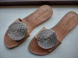 laidbacklondon Comfortabele sandalen zilver-lichtbruin Leer