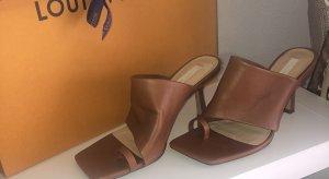 H&M Premium Sandalias con tacón marrón Cuero