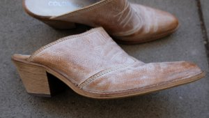 Heel Pantolettes pale yellow-brown