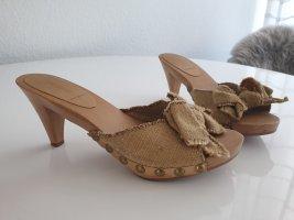 Miu Miu Platform High-Heeled Sandal sand brown