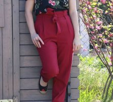 Only Pleated Trousers carmine-bordeaux