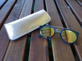 Parfois Sonnenbrille - golden verspiegelt, dunkelblauer Rahmen - mit Etui