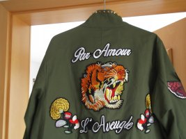 Parka Patch Patches Nieten Biene gestickter Stickerei Tiger Schrift  Print Nieten wie Zara  3 D Mantel Jacke