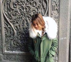 Parka Winterjacke Pelz khaki weiß Blogger Fell