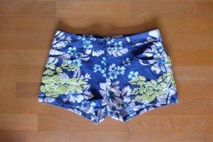 Parosh Shorts Hot Pants kurze Hose blau weiß gelb Paillette Gr. M 38