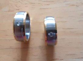 Pierścionek dla par srebrny-złoto Metal