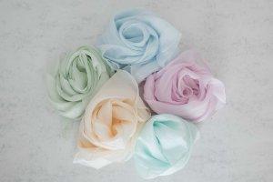 Pañuelo de seda azul celeste-rosa Seda